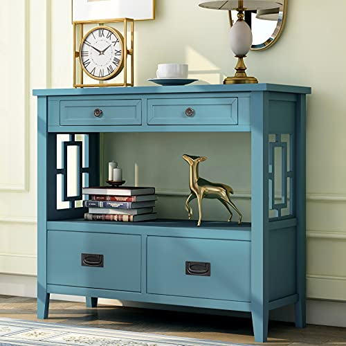 Farmhouse Wood Console Table 36-Inch Entry Sofa Table with Drawers & Storage Shelf for Entryway Living Room Bedroom Hallway Kitchen (Light Blue)