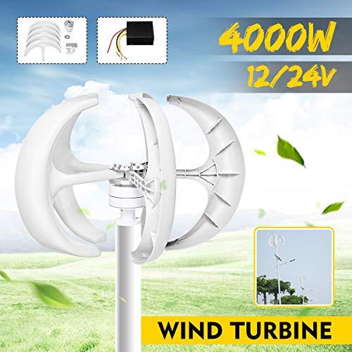 TQ Wind-Turbinen-Generator 4000W Vertikal Axi Wind Turbines Generator Laterne 12V 24V 5 Blades Motor Kit für Home Hybrids Straßenbeleuchtung Verwenden Elektromagnetische,24v