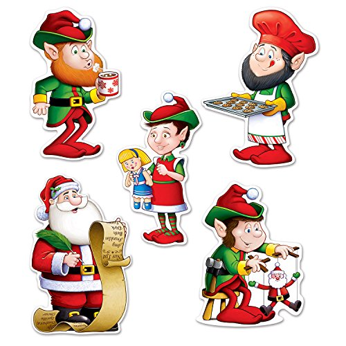 Beistle 22222Mini Papá Noel y Elfos recortes, 5,5