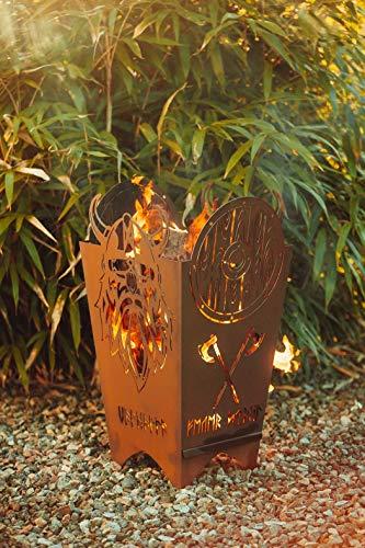 Feuertonne Valhalla Wikinger Ragnarök Feuerschale Feuerkorb Feuerstelle Gartendeko Metall Handarbeit