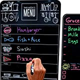 Cute 10'x16' Magnetic Dry-Erase Weekly Menu Blackboard for Kitchen Fridge (with 8 Bright Chalk Markers) & Free Bonus - Grocery/to-Do Lists Board - Daily Dinner Meal Planner Set for Home