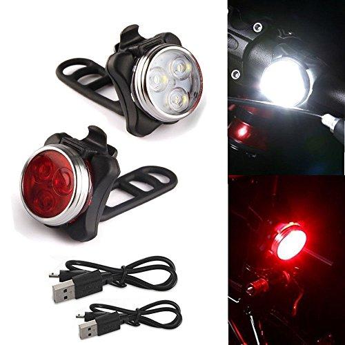 99native LED Fahrradbeleuchtung Fahrradlicht Set,LED Silikon Fahrradleuchte USB Wiederaufladbare,Fahrrad Vorne Rücklicht Set Push Cycle Clip Licht, Sicherheitslicht mit 5 Lichtmodi (2 Stück)