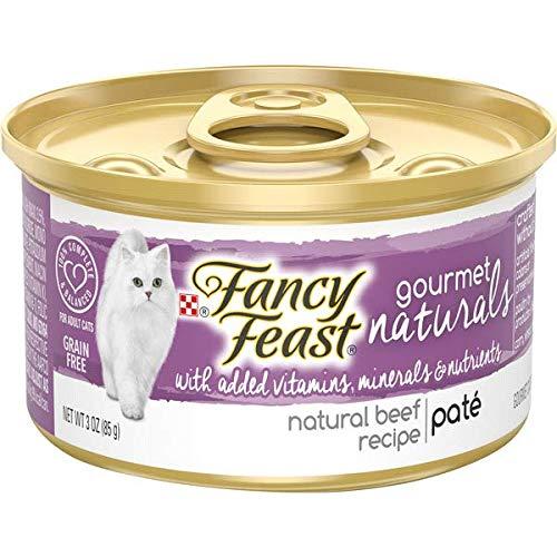 Fancy Feast Gourmet Naturals Purina Grain Free Pate Tender Beef Recipe Adult Wet Cat Food -(12cans -3 oz.)
