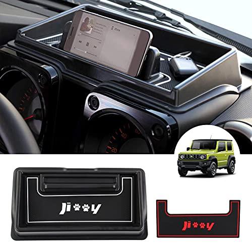 CARERSTEN Suzuki Neu Jimny JB64 JB74 Bj. 2018-Heute Armaturenbrettablage Instrumententafel Autoaufbewahrungsbox Handyhalter Innenteile Rutschfest mit 2 Gummimatten Rot & Weiß