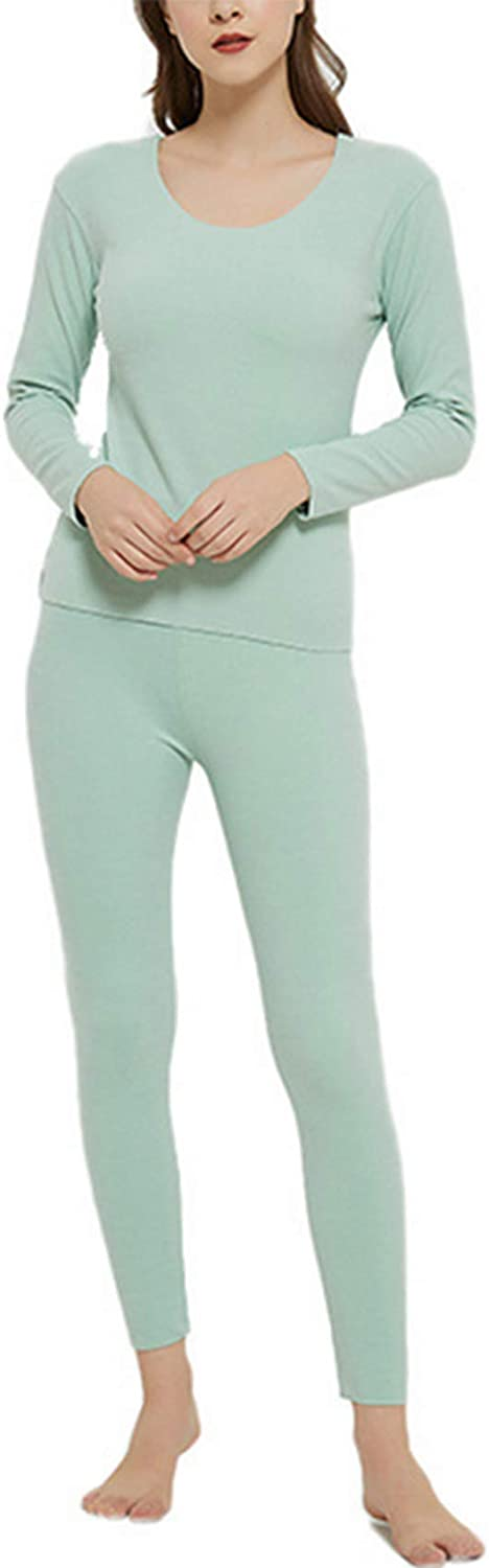 Baixnsj Women's Thermal Underwear Round Neck Long Johns Base Layer Set with Fleece Lined