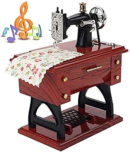 JZLMF Mini máquina de coser retro, caja de música mecánica, caja de música, decoración, juguete creativo