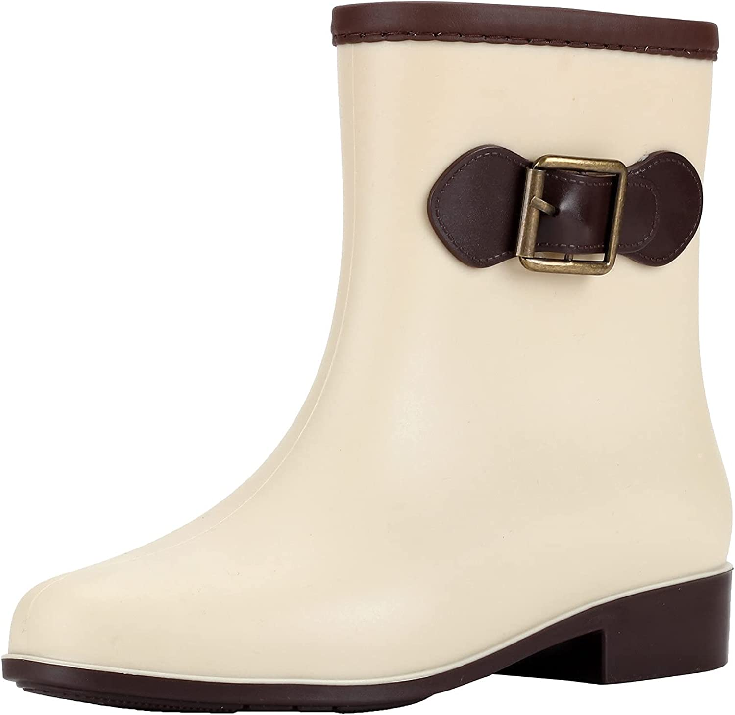Euone_Clothes Women's Boots Low-Heeled Buckle Round Toe Shoe Waterproof Middle Tube Rain Boots