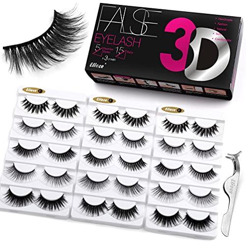 Eliace Lashes 5 Styles 15 Pairs Silk Mink Lashes Faux Mix, Synthetic False Eyelashes Full Fluffy Volume 3D Eyelashes Mink Luxury Multi-layered Effect & Reusable Wispies Lashes In Bulk, Cute False Eye Lashes Sets Pack