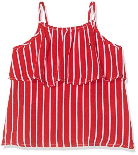 Tommy Hilfiger Baby-Mädchen Girls FINE Stripe Slvls Top, Rot (True Red 635), (Herstellergröße: 86)