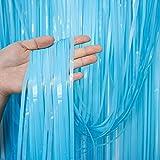 LERANXIN 2 Piezas Cortinas de Flecos, Cortina Azul cumpleaños, Franjas Decoración Fondo Hecho de Pet Suave, Adecuado para Celebraciones de Fiestas, decoración DIY