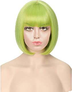 Women Hair Extension Wig Straight Short Cosplay Bob Wig with Bangs Heat Resistant Wigs YUXUJSA (Color : Fresh Green, Stret...