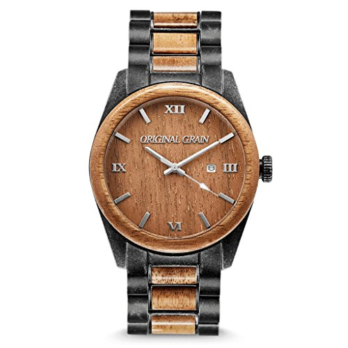 Original Grain Koa Stonewashed Wood Watch - Classic Collection Analog Watch - Japanese Quartz Movement - Wood and Stonewashed Stainless Steel - Water Resistant - Wrist Watch for Men - 43MM