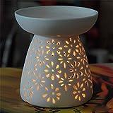 Fourseasons - Brucia-essenze per aromaterapia, ideale come diffusore per essenziali, in ceramica, con spazio per lumino, colore: bianco