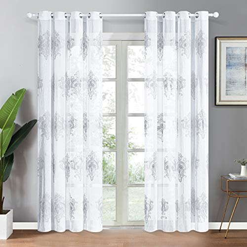 Top Finel Grommet White Sheer Curtains 84 Inches Long for Living Room Bedroom Faux Linen Grey Damask Embroidered Window Curtains, 2 Panels