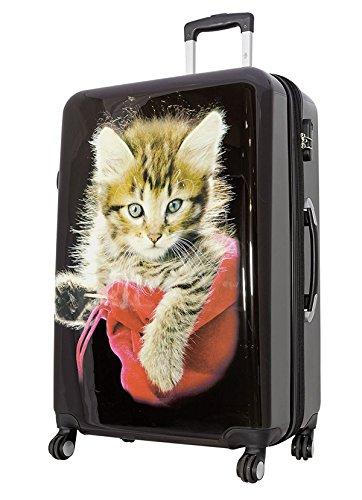 Reisekoffer Katze Trolley Koffer Bowatex Polycarbonat Hartschale Schwarz 77cm XL