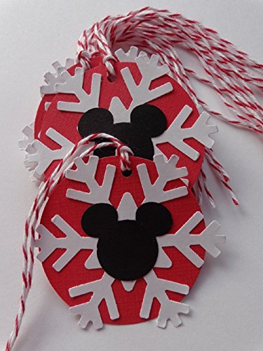 Mickey Mouse White Snowflake Circle Tags - 2' paper tags - Gift Tags - Party Favor Tags - Two Inch Size (Set of 10)