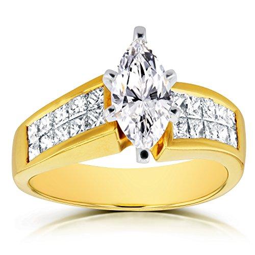 Anillo de compromiso de diamantes marquesa de 2 1/8 quilates en oro amarillo de 18 k (certificado)_7.0