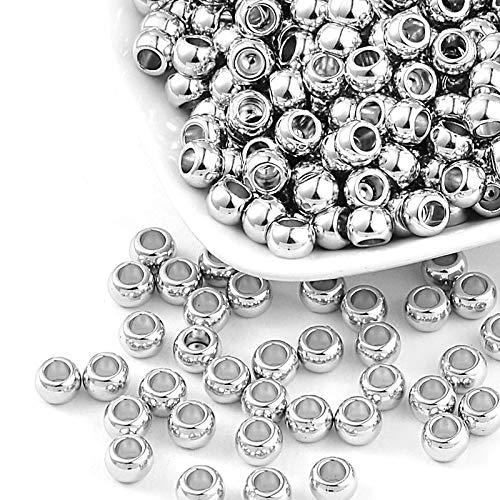 300 perline in plastica CCB di lusso, 7 x 5 mm, colore argento lucido, foro grande 4 mm, distanziatore