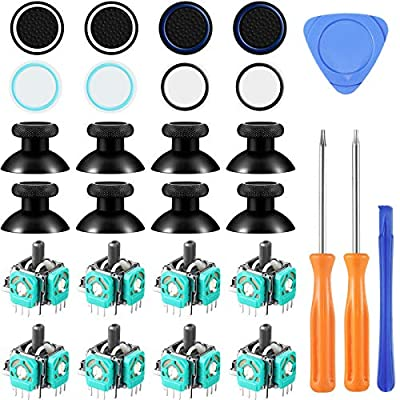 28 Pieces Analog Joysticks Thumbstick Silicone Cap Cover Repair Kit Compatible with Xbox One, T6 T8 Torx Screwdriver, 8 Piece 3D Analog Joysticks, 8 Pieces Thumbstick Caps, 8 Pieces Silicone Cap Cover