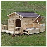 TYX Casetas Perros con Terraza Delantera, Casa Perro Madera Casetas Mascotas Exterior Impermeables Casetas Gatos, para Medianas Y Grandes,105×127×75cm