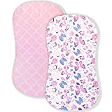 AMROSE Premium Cotton Butterfly Bassinet Sheets, Fit for Halo Bassinest Swivel Sleeper, 2 Pack Hourglass Bassinet Mattress Sheet Set for Girl, Soft Breathable Safe, Pink & Floral Butterfly Prints