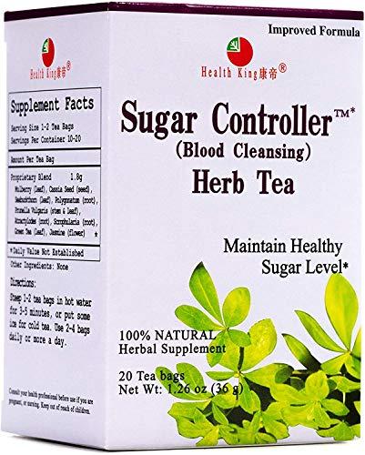 Health King Sugar Controller Herb Tea, Teabags, 20-Count Box (Pack of 4)