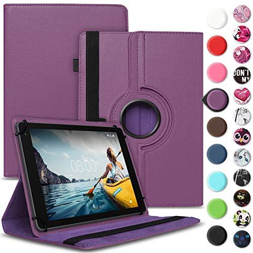 Nauci Tablet Hülle kompatibel für Medion Lifetab E10430 E10414 Tasche Schutzhülle Case Universal Cover Standfunktion 360° Drehbar, Farbe:Lila