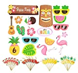 42Pcs Luau Hawaiian Tropical Cupcake Toppers for Hawaiian Luau Summer Flamingo Birthday Party...