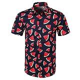 YEBIRAL Polos Manga Corta Hombre Manga Corta Básico Polo con Botones Camisa Hawaiana Hombre Camiseta Fruta Floral Estampado Formales Tops (M,Rojo-1)