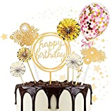 Cake Topper, 8 Piezas Toppers de Pastel Torta Toppers Cumpleaños Toppers Happy Birthday Topper Toppers para Tartas, para fiestas de bebés, cumpleaños infantiles (Dorado)