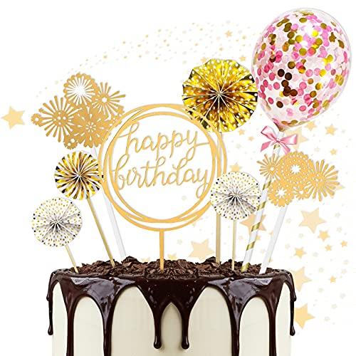 JIASHA Tortendeko Geburtstag, 8 Stück Geburtstag Kuchen Dekoration Kuchen Topper Birthday Kuchen Geburtstag Torte Topper Cupcake Topper Happy Birthday, für Geburtstag Babyparty Jubiläen (Golden)