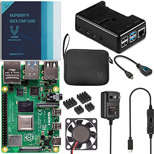 Vilros Raspberry Pi 4 4GB Basic Kit with Black Fan Cooled Case