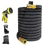 Froadp Gartenschlauch 22,5m Flexischlauch Erweiterbar Wasserschlauch Brause Düse mit 9 Funktionen für Gartenbewässerung und Reinigung(75Ft, Schwarz)