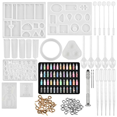 BUYGOO Silicone Mold for Resin Jewellery Making Resin Mold and Tool Kit with Assorted Style Silicone Mold for Earring, Pendants Art Craft DIY