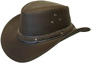 LEATHER DOWN under HAT AUSSIE BUSH COWBOY STYLE 经典西部露背棕色/黑色