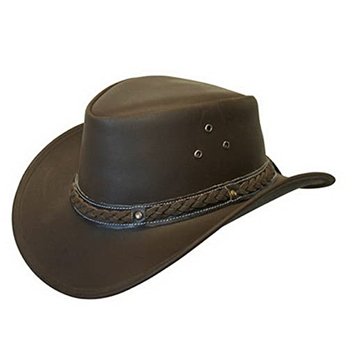 5c17884ce01 Leather Down Under HAT Aussie Bush Cowboy Style Classic Western Outback  Brown Black