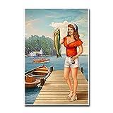 NFGGRF Sexy Pinup Girl Art Lienzo Pintura póster e Impresiones Arte de Pared para decoración de Sala...
