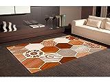 Oedim Alfombra Hexagonal Marrones PVC | 95 cm x 200 cm | Moqueta PVC | Suelo vinilico | Decoración del Hogar