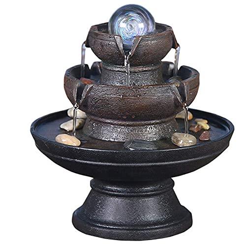 Característica de Agua de 2 Niveles para Interior con Fuente de Feng Shui portátil LED para decoración de jardín Interior al Aire Libre Cascada de Escritorio