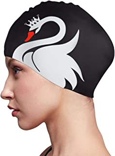 Swim Cap for Women Long Hair Curly Hair Solid Silicone Waterproof Bathing Swan Swimming Caps for Girls Adults Youths Black White