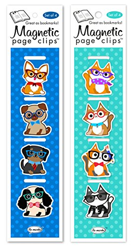 Re-marks Cats and Dogs with Glasses Magnetic Page Clips Includes 2 Styles, 8 Page Clips