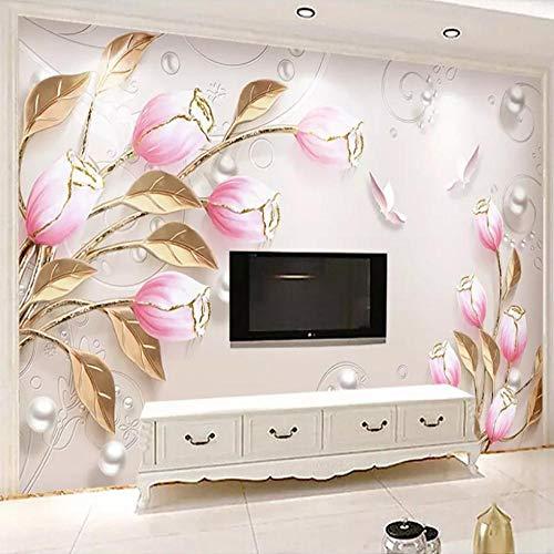 Kreativität Perlgold Pulver Blume Knospe wunderschöne chinesische Retro-Abstraktion benutzerdefinierte Wandbild 3D Poster Foto Restaurant Schlafzimmer TV Hintergrund Wanddekor Malerei-5