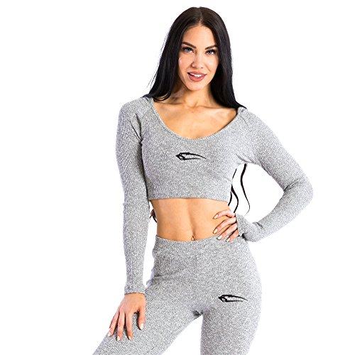 SMILODOX Damen Loungewear Hoodie \'Cushy\'   Slim Fit Hoodie   Homewear   Freizeit Trainingspullover mit Kuscheleffekt Longsleeve, Farbe:Grau, Größe:S