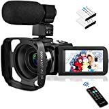 Video Camera Camcorder with Microphone, Rosdeca Vlogging Camera FHD 1080P 36MP 30FPS IR Night Vision 3.0' IPS Touch Screen 16X Digital Zoom Digital Camera Webcam Recorder YouTube Camera