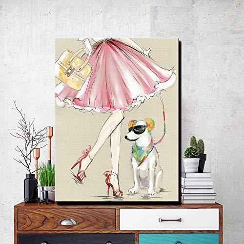 tzxdbh Modern canvas schilderij een coole hond met een meisje olieverfschilderij op canvas muurschilderij afbeelding voor woonkamer muurkunst wanddecoratie schilderij & kalligrafie van 30x40cm No Frame Pc3467