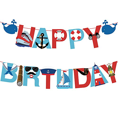17pcs Nautical Happy Birthday Banner with Baby Whale Sailboat anchor Lifebuoy Swimming Ring Telescope Navy Suit Kaleidoscope Navy Cap Cruise Ship Big Pipe Lighthouse Coordinate Tower for Kids Baby Show Theme Birthday Festival Thanksgiving Chrismas Happy New Year Party