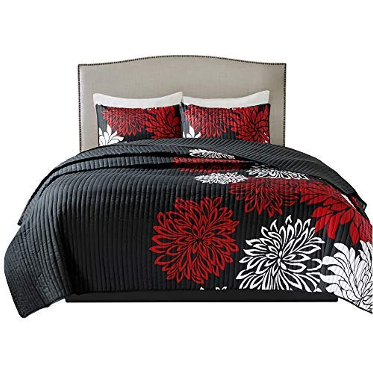 Comfort Spaces Enya 3 Piece Quilt Coverlet Bedspread Ultra Soft Floral Printed Pattern Bedding Set, Full/Queen, Black-Red