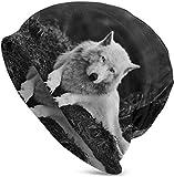 Whecom Strickmützen, Wolf Wolves Black Valentine Funny Upgrade Hip- Adult Knit Beanie Warm Knit Ski Skull Cap Beanie Mütze One Size für Damen und Herren