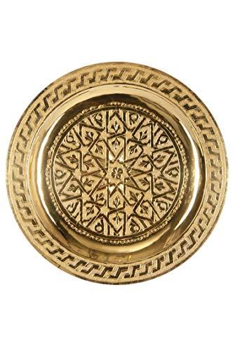 Orientalisches rundes Tablett aus Messing Mehdia 25cm Deko Gold | Marokkanisches Teetablett in der Farbe Golden | Orient Goldtablett goldfarbig | Orientalische Dekoration auf dem gedeckten Tisch