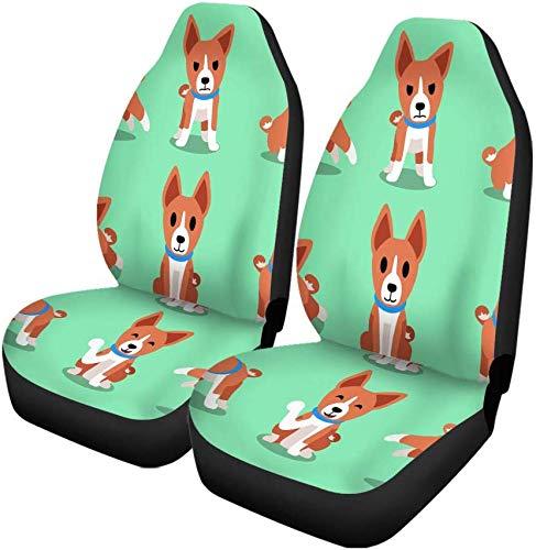 Set van 2 Auto Stoelhoezen Puppy Cartoon Karakter Basenji Hond Poses Action Run Leuke Universele Auto Voorstoelen Beschermer Past Voor Auto